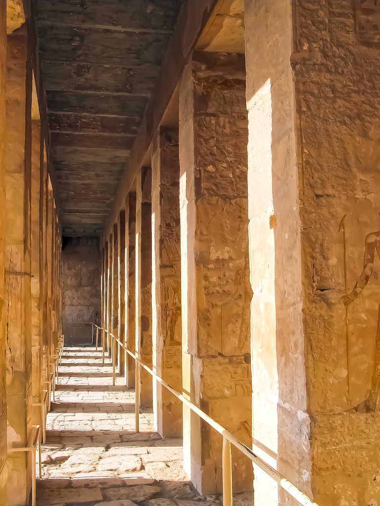 Mortuary Temple of Hatshepsut light and shade colonnades 3