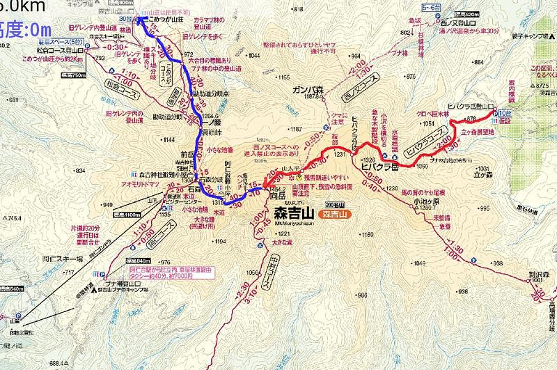 森吉山の地図