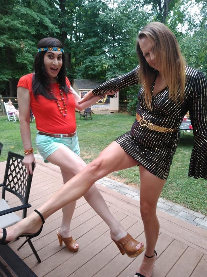 Attended a 1970s theme birthday party. Inspired by Rod's song Hot Legs!