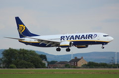 Ryanair EI-DYV Boeing 737-8AS flight FR 5985 arrival at Teesside International Airport MME England UK from Alicante ALC Spain
