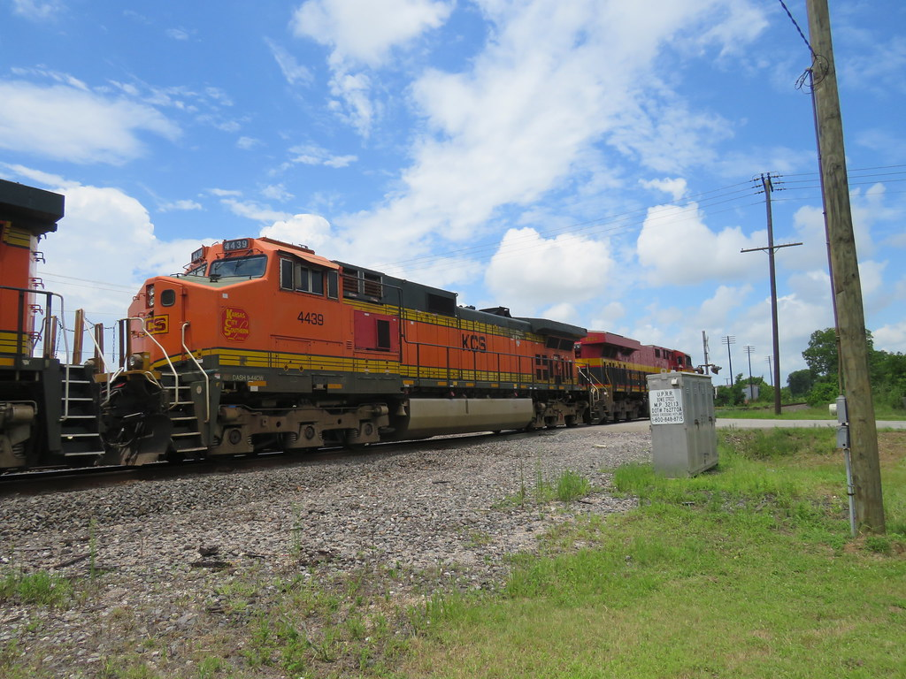 KCS M-SHSZ at Liberty with four patched Ex-BNSFs