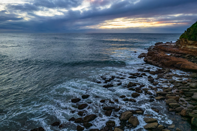 Surfs up - aerial sunrise seascape