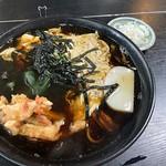 Soba topped with a prawn tempura with simmered egg from Hiyoshiya @ Negishi