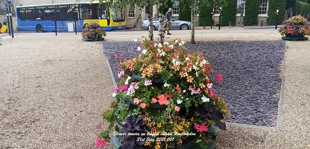 Flower towers on traffic island Huntingdon 31st July 2021 001