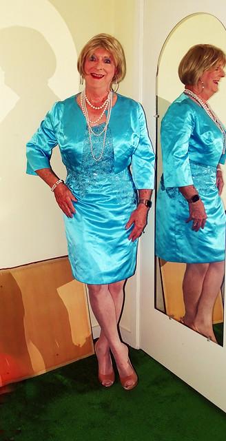 Aqua satin dress