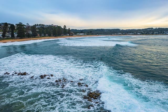 Sunrise aerial shorescape at the seaside