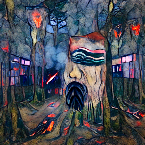 'cyberpunk art of a forest fire in the style of Edvard Munch' Zoetrope 5 Text-to-Image