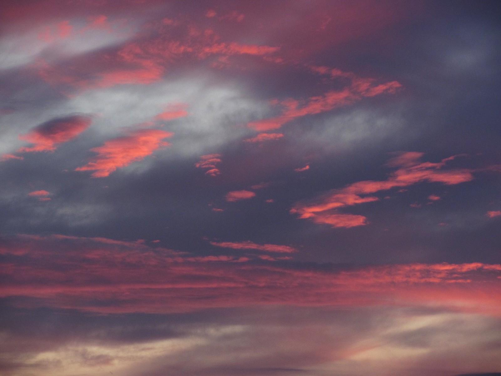 Pink sunset clouds against dark purple bakdrop