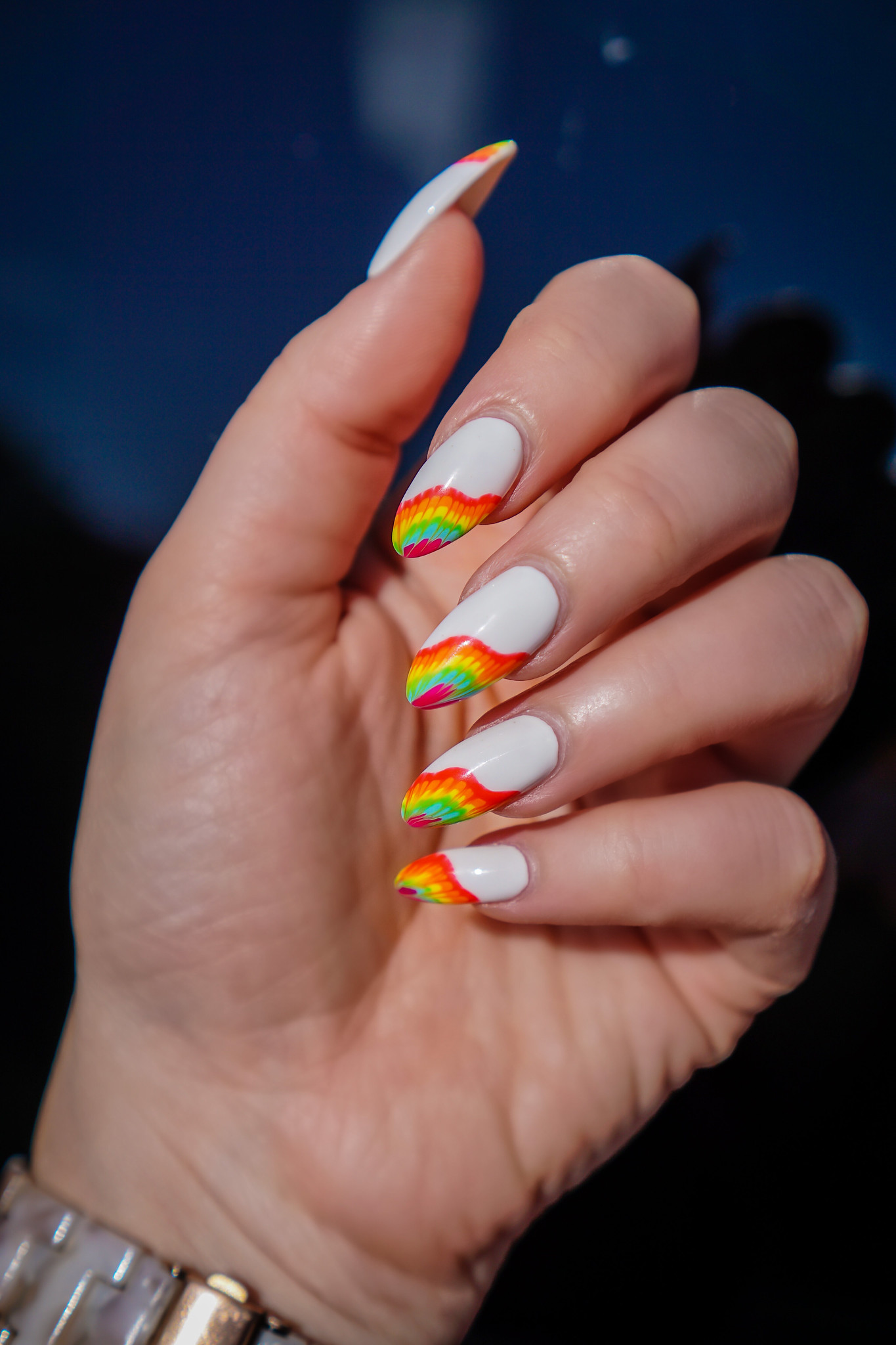 Rainbow Tie Dye Nails: Manicure of the Month   Summer Nails   Vacation Nails   Manicure Ideas   2021 Nail Ideas   Nail Art   Almond Nails   Acrylic Nails   Colorful Nails   Acrylic Nails   Nail Design