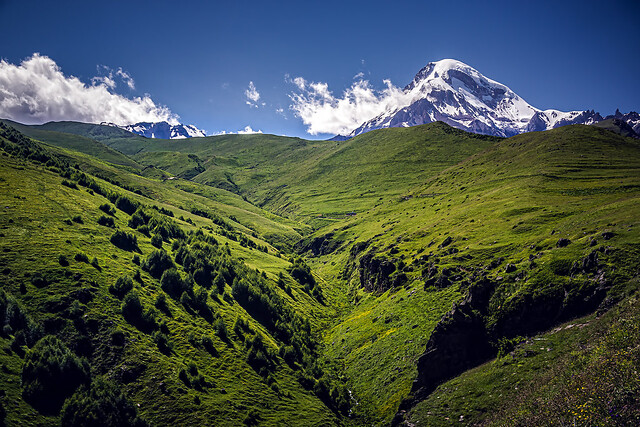 Looking back on Mount Kazbek