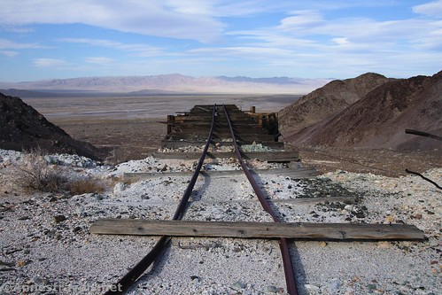 Rail tracks that carried ore between the ore riser and the ore bin at the middle claim, Saratoga Mine, Death Valley National Park, California