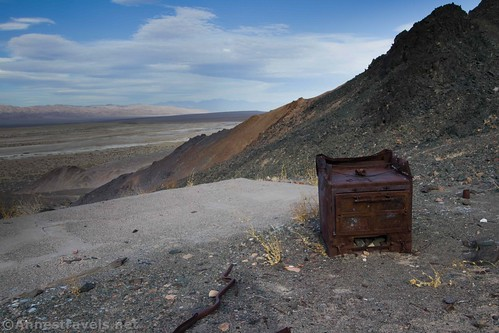 The old stove below the first claim of the Saratoga Mine, Death Valley National Park, California