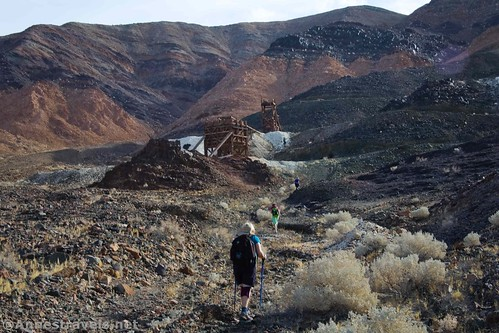Hiking up to the northern claim of the Saratoga Mine, Death Valley National Park, California