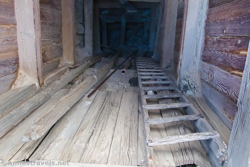 Looking down one of the talc mine shafts at the Saratoga Mine, Death Valley National Park, California