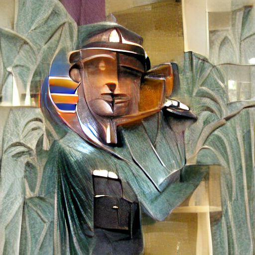 'an art deco scultpture of a policeman' Zoetrope 5 Text-to-Image