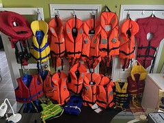 Special needs life jackets, beavertail crotch straps adult life jackets collection.