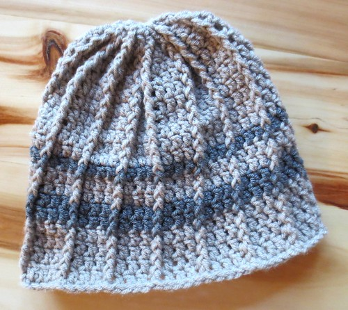 Striped Cabled Crochet Hat