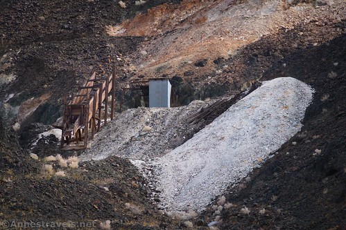 The ore chute and old tailings at the southern claim of the Saratoga Mine, Death Valley National Park, California