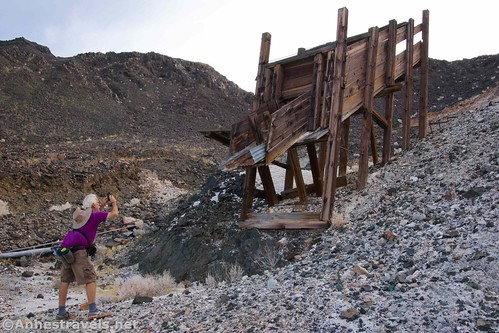 Photographing the ore chute at the southern claim of the Saratoga Mine, Death VAlley National Park, California