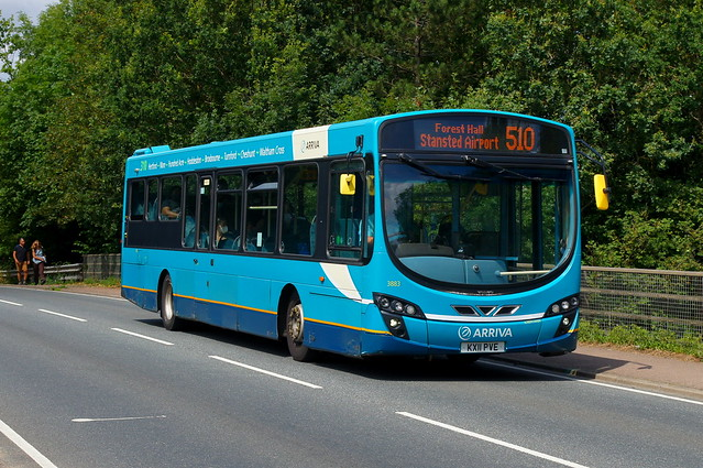 The Stand-In: Arriva Harlow Volvo B7RLE/Wright Eclipse 2 KX11PVE (3883) Church Road Stansted Mountfitchet 04/08/21