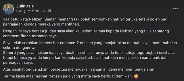 Zulin Aziz Mahu Saman Netizen Yang Tuduhnya Persoal Saman Siti Nordiana