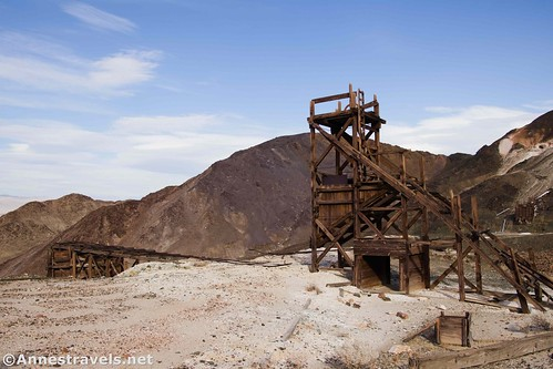 The ore riser (is that the proper term?) and the top of the old ore bin at the middle claim of the Saratoga Mine, Death Valley National Park, California