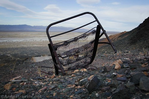 The old bed frame below the southern claim of the Saratoga Mine, Death Valley National Park, California