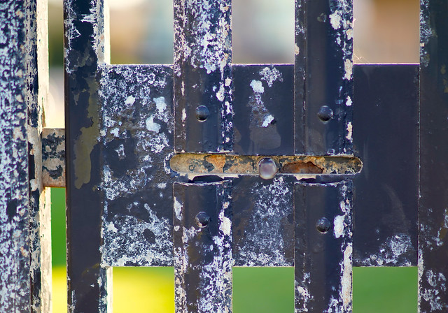 Gate with patina