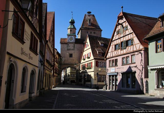 View along Rödergasse, Rothenburg ob der Tauber, Germany