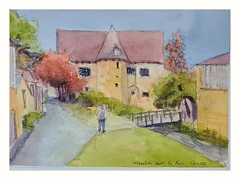 Moulin sur le Roc. Couze. pen and wash from StreetView image.
