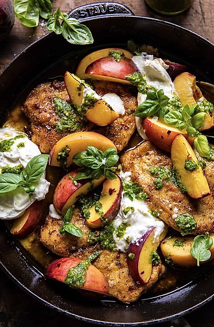 Skillet Balsamic Peach Chicken with Basil
