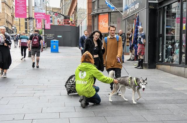 Oxfam chugger, Glasgow, Scotland