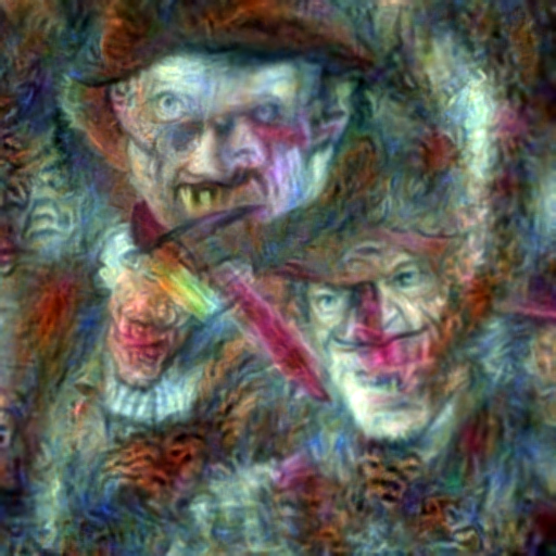 'Freddy Kruger in the style of Rembrandt' CLIP RGB Optimization