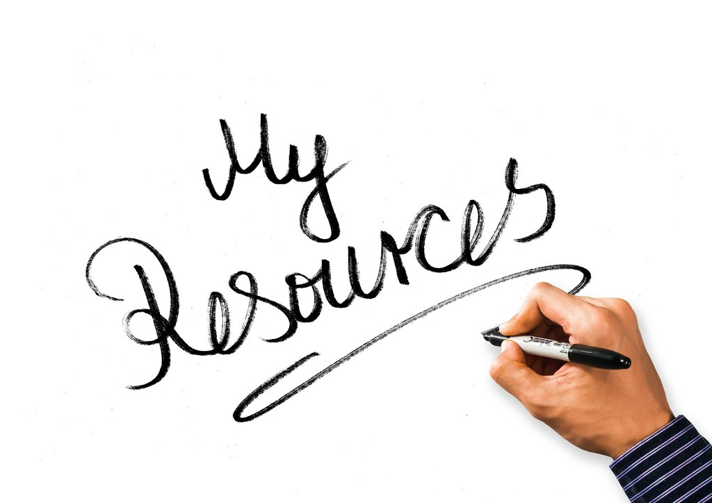 Hand written words: 'my resources' on a whiteboard.