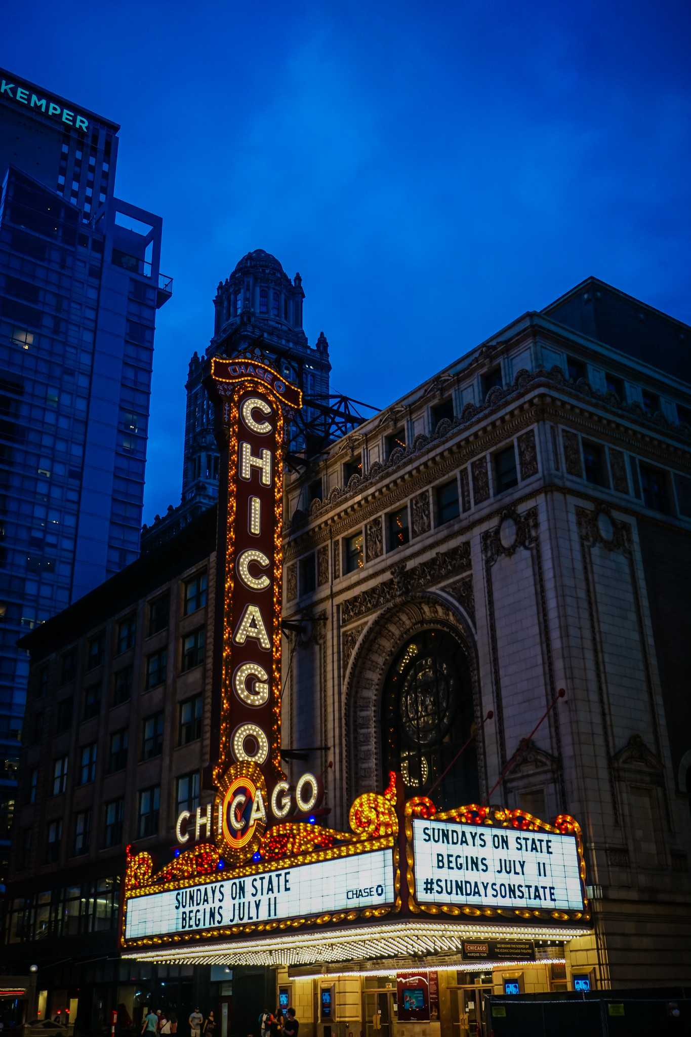 Chicago Theater at night