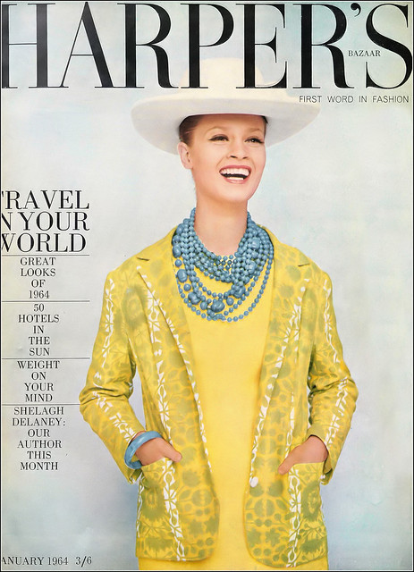 Celia Hammond in slightly flared sheath dress in citron cotton with its own print blazer by Susan Small, hat by Otto Lucas, bracelet and beads by Fenwicks, cover photo by Terence Donovan, Harper's Bazaar UK, January 1964