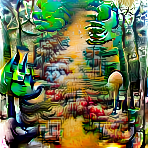 'a surrealist painting of a forest path' Aleph2Image Delta Text-to-Image