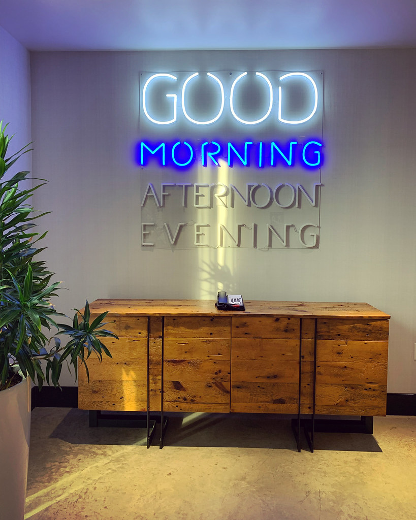 Neon sign with Good Morning lit up