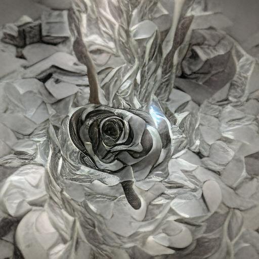 'a rose made of silver' VQGAN+CLIP z-quantize Text-to-Image