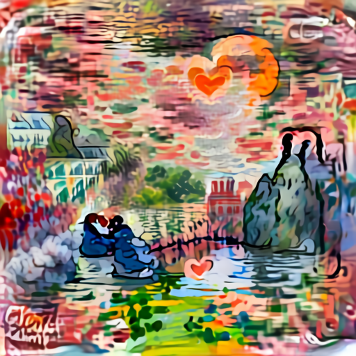 'a cartoon of love in the style of Claude Monet' Aleph2Image Delta v2 Text-to-Image