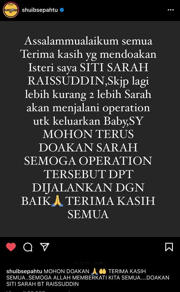 Siti Sarah Selamat Melahirkan Bayi Lelaki, Terpaksa Ditidurkan, Tahap Oksigen Tidak Stabil