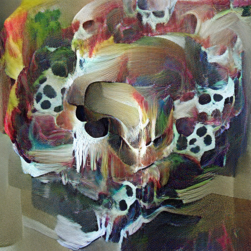 'an abstract painting of a skull' VQGAN+CLIP z-quantize Text-to-Image