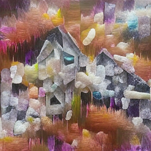 'an abstract painting of a house made of crystals' VQGAN+CLIP z-quantize Text-to-Image