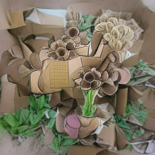 'a drawing of a bouquet of flowers made of cardboard' VQGAN+CLIP z-quantize Text-to-Image