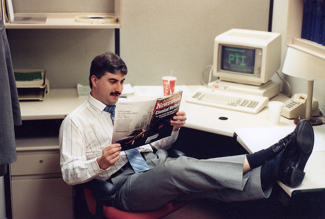 Yours truly working really hard while climbing up the IT hierarchy. As a Senior Programmer/Analyst, my team and I were expected to wear suits and ties. A friend in the next cubicle took this shot with my 35mm Nikon FG.  Lever Brothers Co. April 1990.