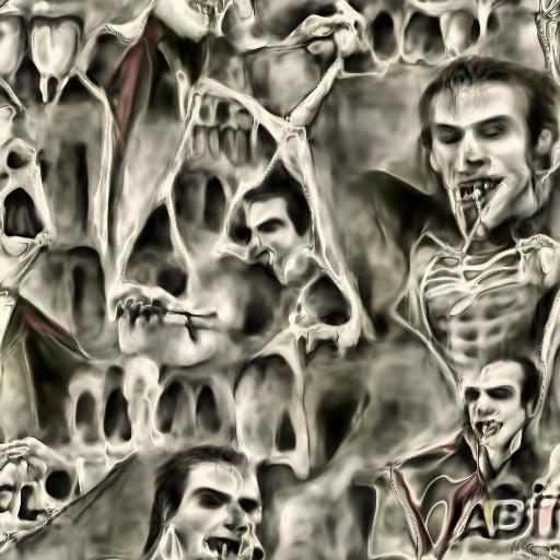 'a pencil sketch of a vampire made of bones' Deep Daze Fourier Text-to-Image
