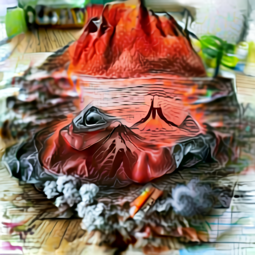 'a drawing of a volcano' Aleph2Image v2 Delta Text-to-Image