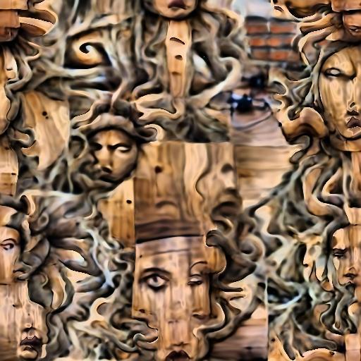 'medusa made of wood' Deep Daze Fourier Text-to-Image