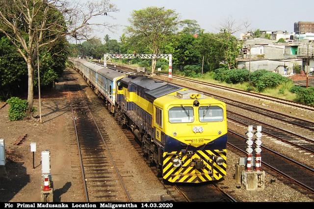 M11 956 on passenger train at Maligawattha in 14.03.2020
