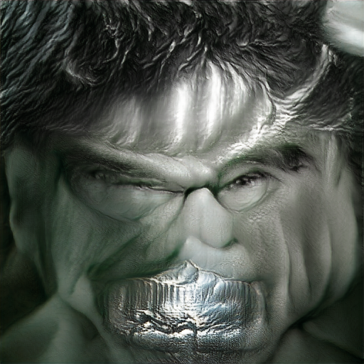 'The Incredible Hulk made of silver' Text2Image v2 Text-to-Image